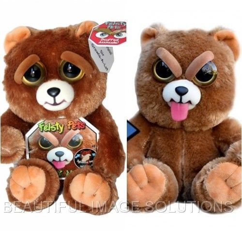Feisty Pets Brown Stuffed Bear Turns Tongue Feisty With Squeeze