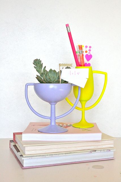 DIY trophies made from glassware, clay and paint!   from youaremyfave