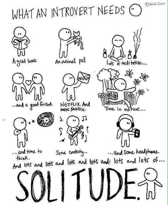 More people need to understand this. Its how we were created and for some it isn't healthy. but for some people, We need solitude lots for the sake of our mental health.