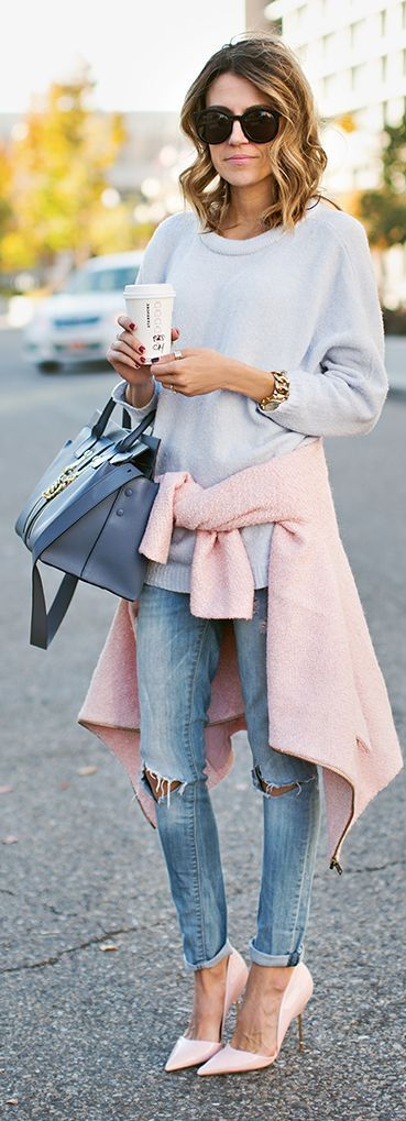 Shop this look on Lookastic:  https://lookastic.com/women/looks/jacket-oversized-sweater-skinny-jeans-pumps-satchel-bag-sunglasses-watch/8979  — Black Sunglasses  — Light Blue Oversized Sweater  — Gold Watch  — Blue Leather Satchel Bag  — Pink Boucle Jacket  — Light Blue Ripped Skinny Jeans  — Pink Leather Pumps: