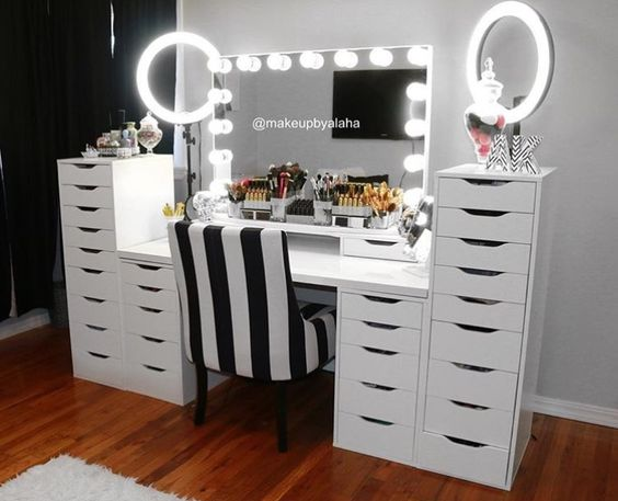 Makeup vanity beauty room mirror ring lights make up for Beauty parlour dressing table images