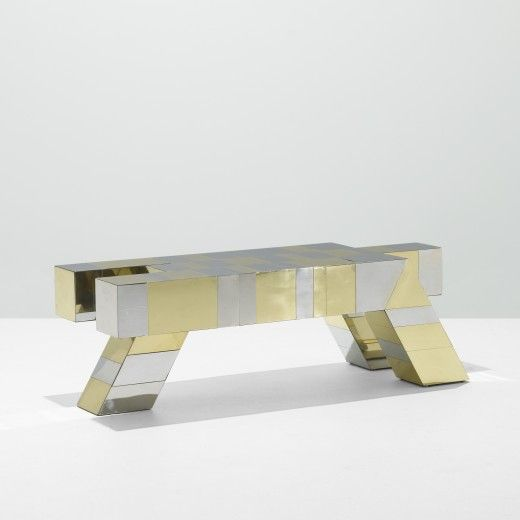 Paul Evans, Chrome-Plated Steel and Brass Cityscape Coffee Table for Directional, c1975.