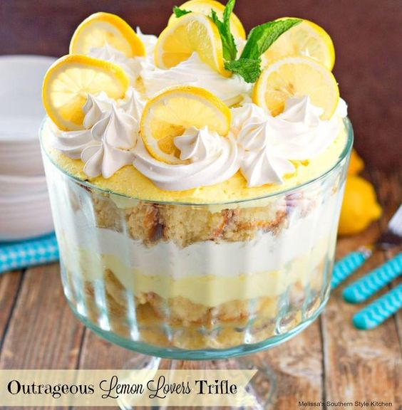 ☆☆ OUTRAGEOUS LEMON LOVERS TRIFLE☆☆ This outrageous lemon lovers trifle is a dessert filled with citrus deliciousness.  It starts with a lemony pound cake that's brushed with a lemon …