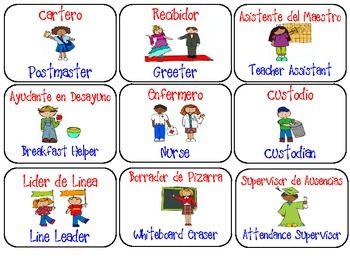 FREE English/Spanish classroom jobs headers
