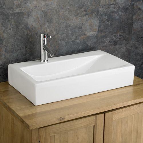 Large Bathroom Rectangle Sink Countertop Sloped White Basin