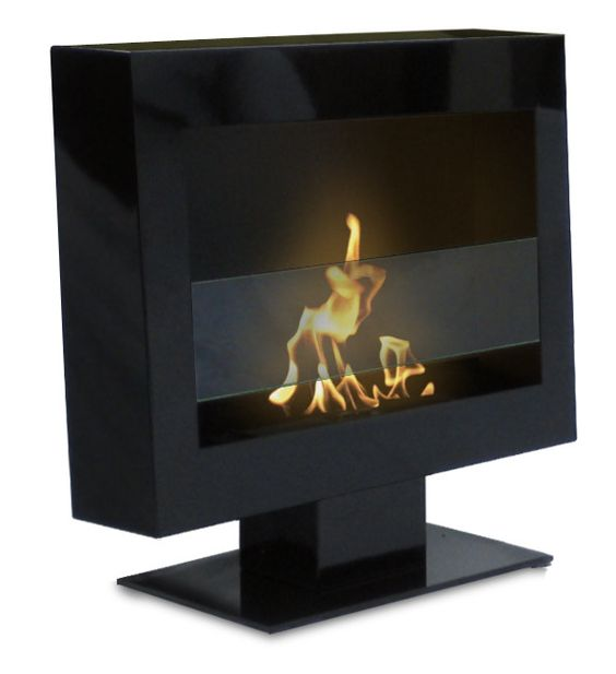 The simple, elegant design and the beautiful satin black finish of the Tribeca fireplace on a stand will create a dramatic statement and add architectural interest to any room. Just place it on the fl