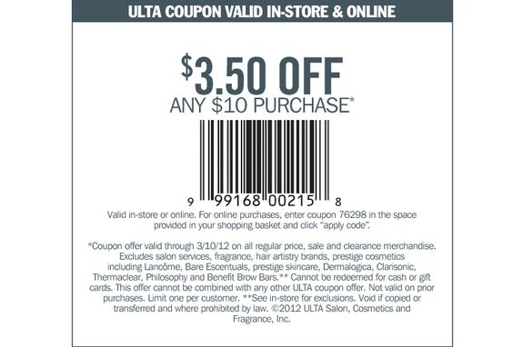 $3.50 off any $10.00 purchase at Ulta! In-store or online. Expires 3/10/12