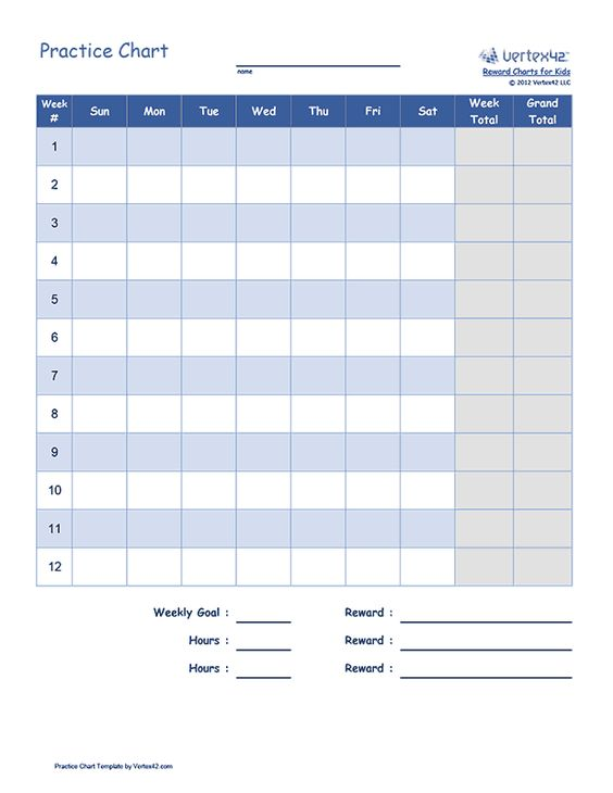Free printable Practice Chart (PDF) from Vertex42 Stepford - free reward charts to download