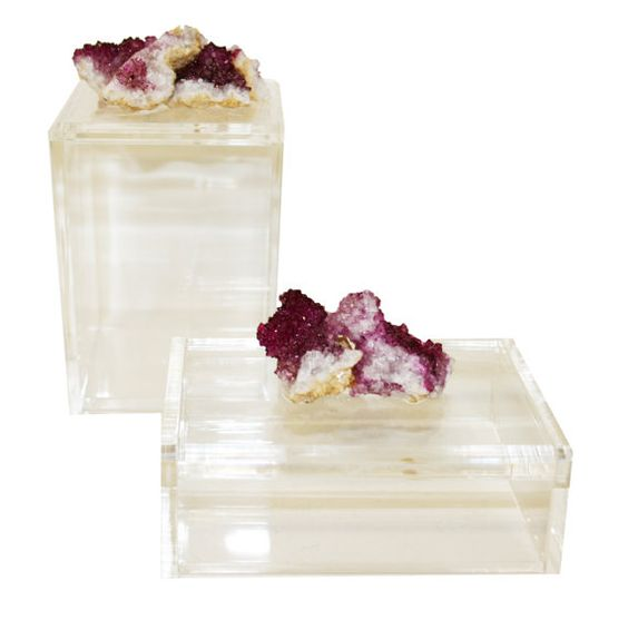 Acrylic Display Boxes w/ Druzy Crystals S/2 by 3IslandsDesigns, $95.00