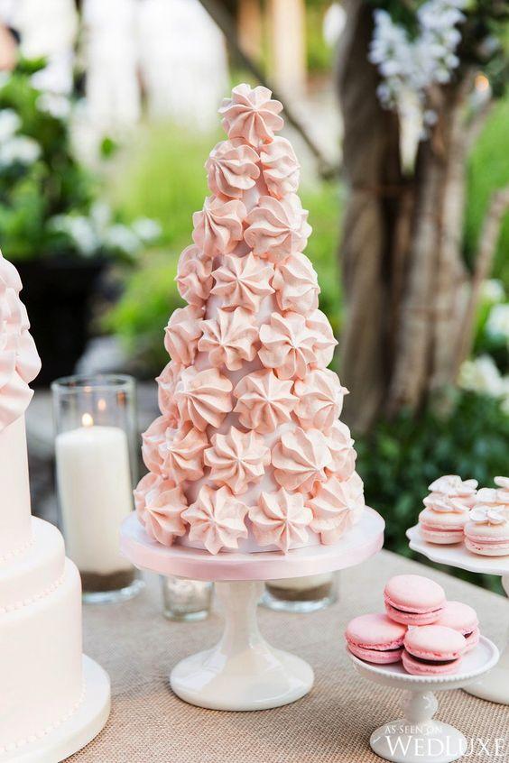 Bobbette & Belle | Meringue Tower | Dessert Tablescape | Breezy, Private Island Wedding in Muskoka | WedLuxe Magazine