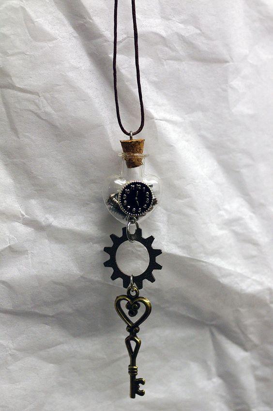 Steampunk Charm Necklace, Charm Necklace, Bottle Charm Necklace by AsymmetricalBalance on Etsy