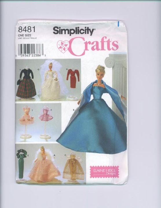 Free Copy of Pattern - Simplicity 8481 | Barbie Simplicity Patterns ...
