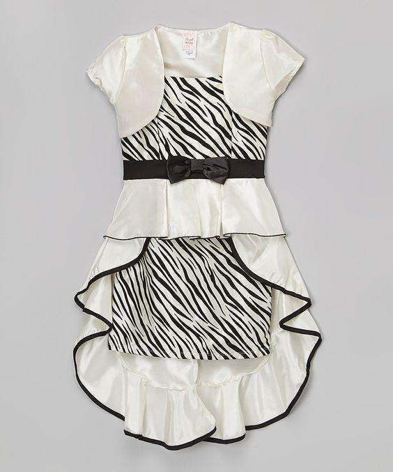Another great find on #zulily! White Zebra Bow Dress & Bolero - Toddler & Girls by Just Kids #zulilyfinds