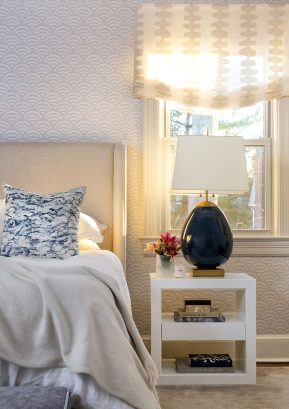 Ella Scott Design | Modern Cottage | master bedroom modern bedroom wallpaper upholstered headboard Romo fabric roman shade Visual Comfort light