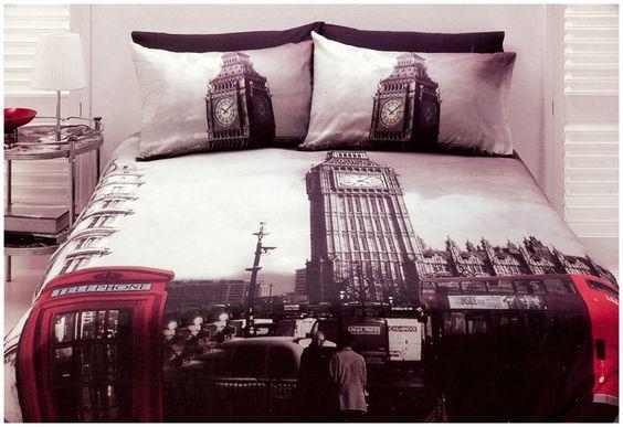 Travel Inspired Guest Room: London Quilt Doona Cover Set Queen Size Bedding Big Ben UK