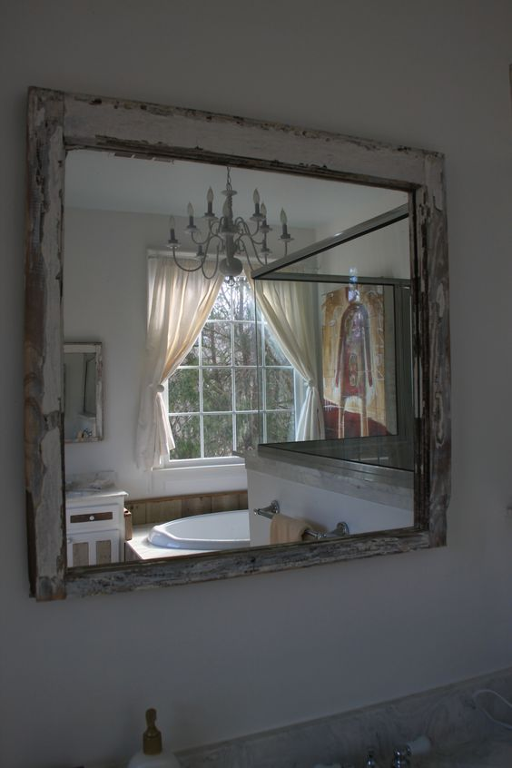 Another view of my master bath thru a repurposed window for Recycled window frames