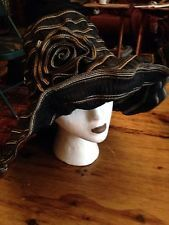 Hippie Style Wide Brim Black And Brown Ribbon Sun Hat With Flower Flexible Wire