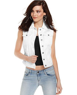 GUESS Vest, Sleeveless White-Wash Destroyed Denim - Jackets ...