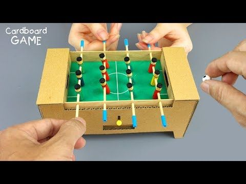 How To Make A Table Football Game From Cardboard Mini Foosball Youtube Table Football Board Games Diy Diy Toys And Games