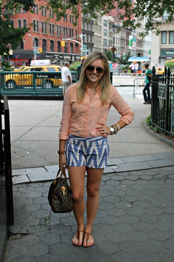 A pair of Gap ikat shorts & a Gap button-up as featured on the blog Bows and Sequins.