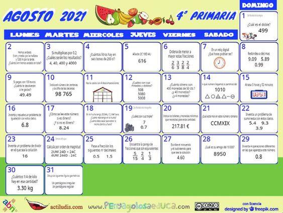 Calendario Cuarto ABN – Agosto 2021