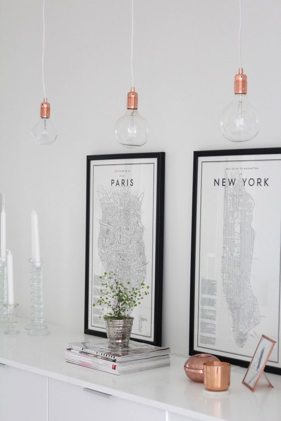 copper threesome of lightbulbs | Paris and New York prints by David Ehrenstråhle | magazine stack