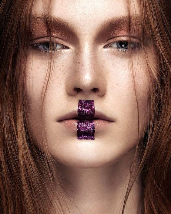 Purple glitter lip makeup // Photo by Ruo Bing Li: