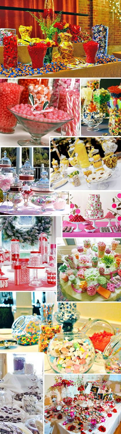 Dive into this delicious wedding detail candy bar buffets