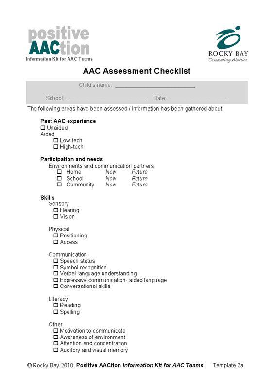 Childrenu0027s Hospital Boston Communication Profile SLP AAC - community needs assessment template