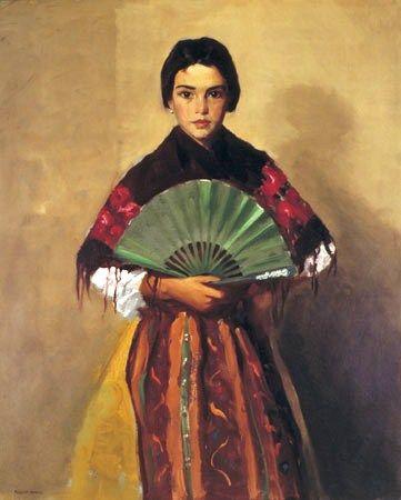 Robert Henri (American Ashcan School painter, 1865-1929) - The Green Fan (Girl of Toledo, Spain):