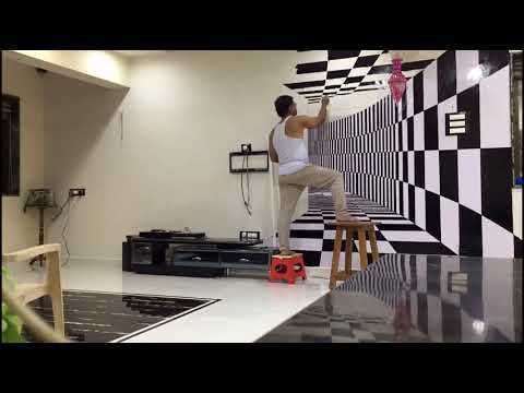 3d Tunnel Wall Painting By My Family Diy Youtube Decoracao