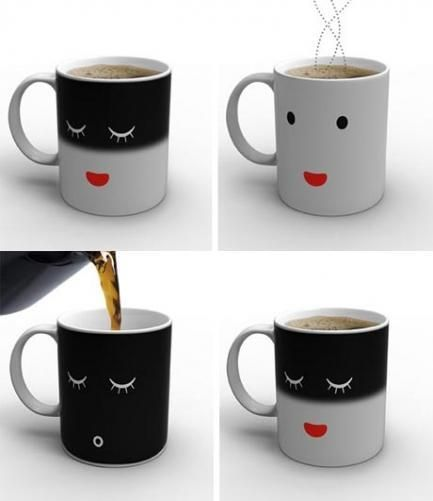 smiling temperature changing mug!