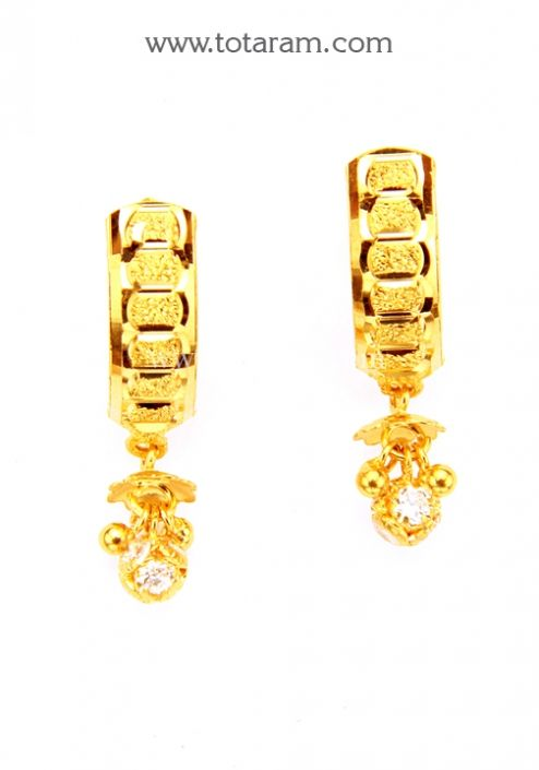 Gold Hoop Earrings Ear Bali In 22K Gold 235 GER7786 Buy this