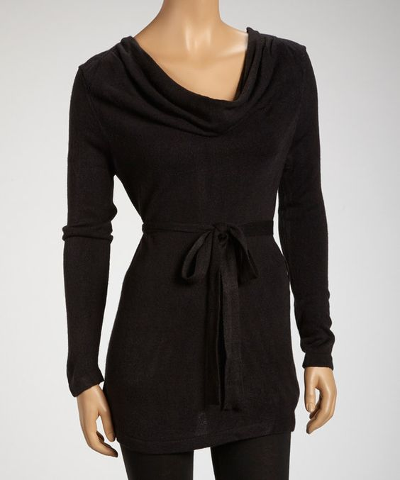 Take a look at this Black Belted Cowl Neck Tunic on zulily today!