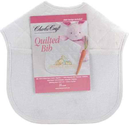Quilted Baby Bib - White With Solid White Trim
