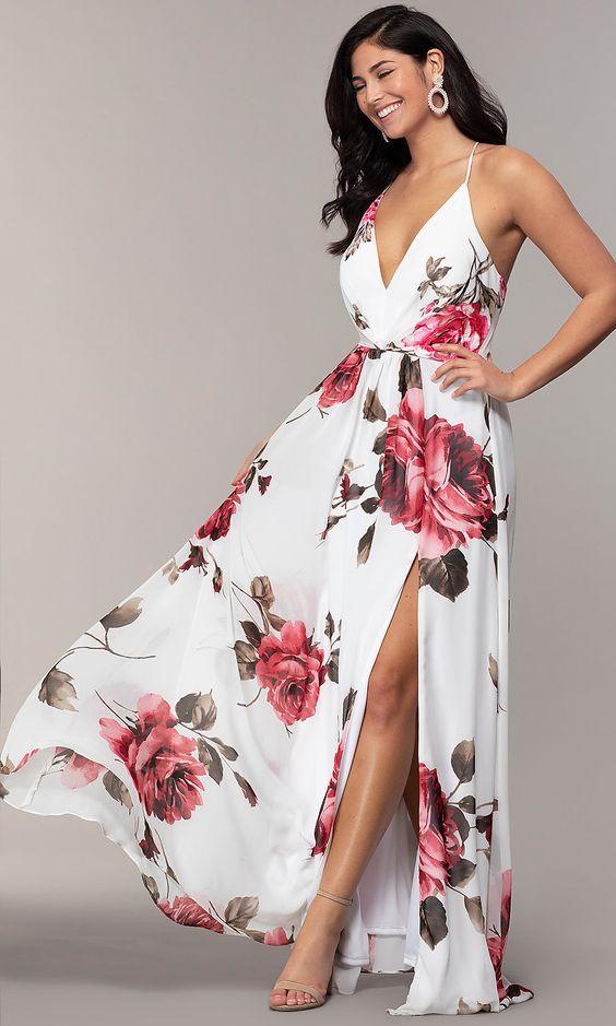 Vestidos Longo de verão rosas