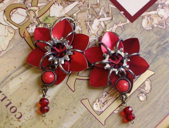Scarlet Siren- Ruby Red Chainmaille Flower Earrings