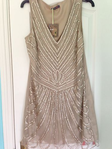 1920s Vintage Gold Beaded Gatsby Flapper Wedding Bridesmaid Dress ...