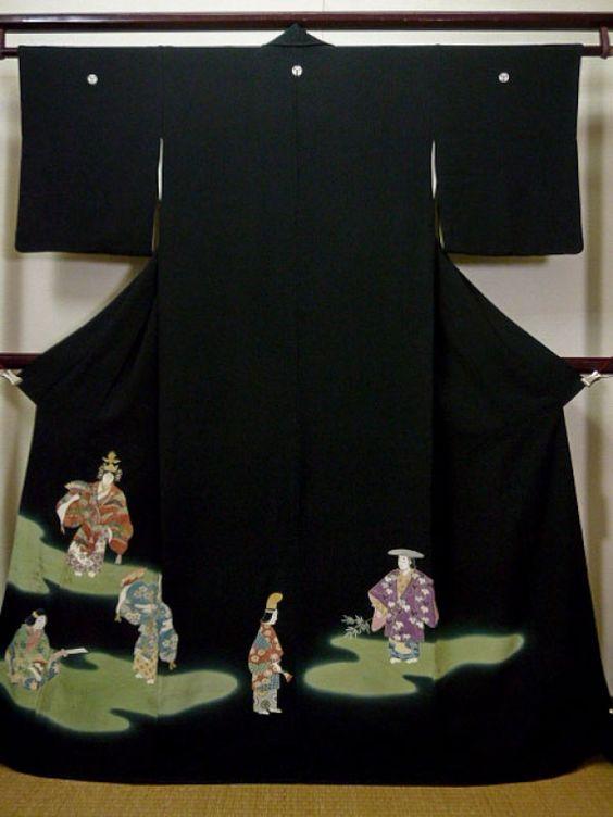 Photo1: F0425E Vintage Japanese Kimono Black TOMESODE formal The HEIAN nobles Silk. (Grade B)