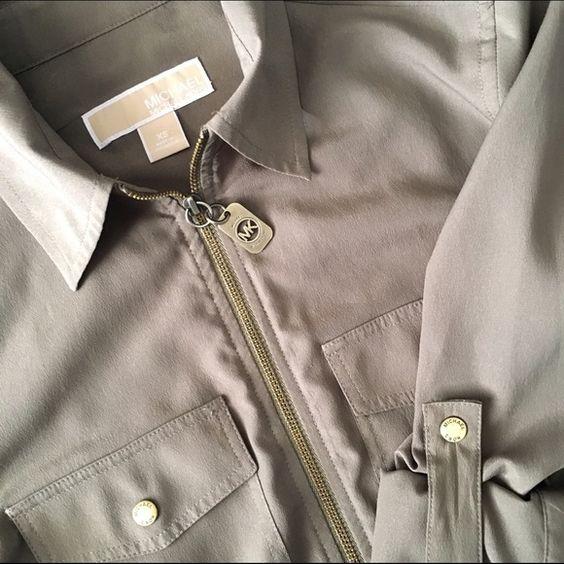 Michael Kors blouse Army green Michael Kors zip-up blouse. Long sleeved. Gently used. Michael Kors Tops Blouses