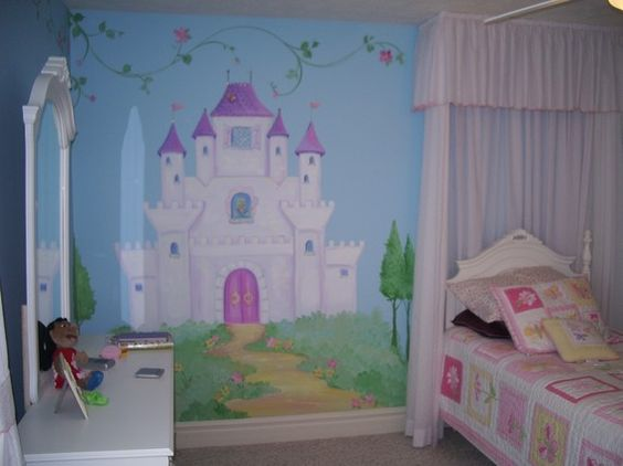 Castle murals castle wall art fairy art fairy tale for Castle kids room
