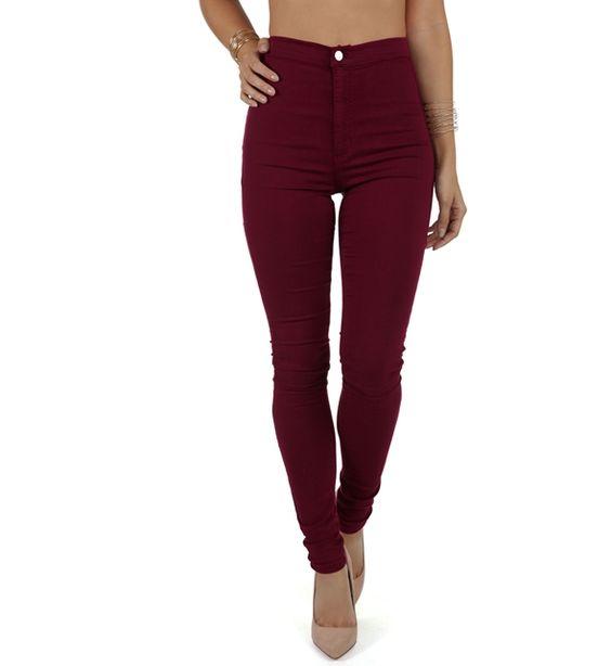 Burgundy High Waist Skinny Jeans | College Wardrobe | Pinterest