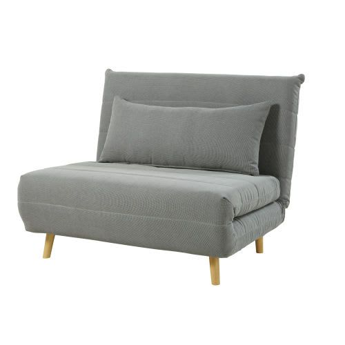 Ausklappbare 1 Sitzer Bank Hellgrau Mobel Sofa Antike