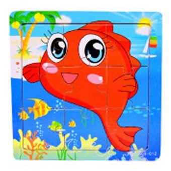 ราคาถูก พร้อมส่ง  LT365 9 Piece Wooden Cartoon Animals Jigsaw Puzzle-Redfish (Intl) ได้รับการรับรอง พร้อมส่งทันที