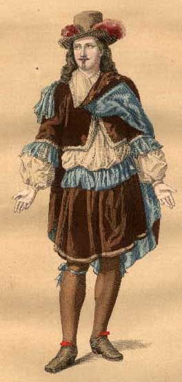 17th century: petticoat breeches, cavalier style mens hat, short jacket, cape