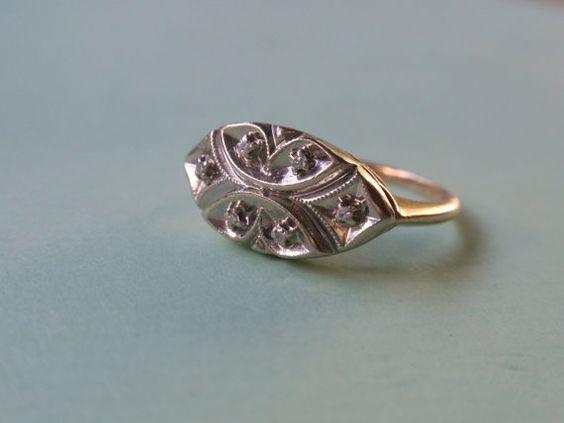 Vintage Diamond Cocktail Ring Engagement ring 14k gold HandKraft