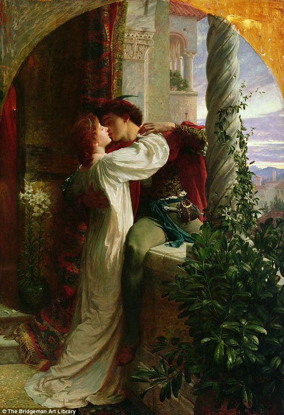 It has been said that romance is dead in the modern age – but our hearts are still hankering for it, it seems.    This painting of a stolen kiss between the most famous star-crossed lovers of them all has been voted the most romantic artwork in Britain.    Experts say that Romeo and Juliet, painted in oil by Frank Bernard Dicksee in 1884, remains popular because we all still crave 'passion and faithfulness'. It shows the Shakespearean couple sharing a kiss after their wedding night, not…