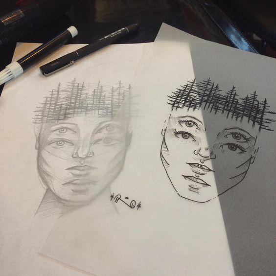 sketch de rosto. por: @pedrongomes • #instainspiredtattoos #inspiredsketchtattoos