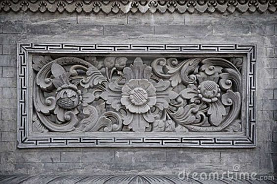 Floral ornamentation carved in stone bali indonesia