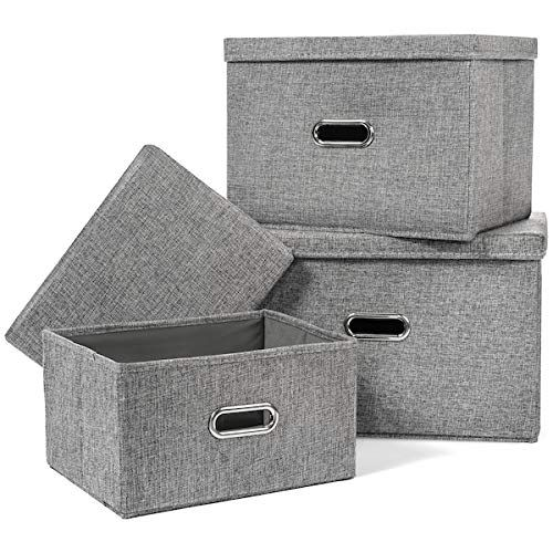 Rqi Large Collapsible Storage Bins With Lids Linen Fabric Foldable Storage Cubes Organizer Contai In 2020 Collapsible Storage Bins Container Organization Cube Storage